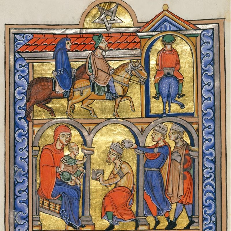 Иллюстрация с поклонением волхвов из требника Бертольда (Berthold Sacramentary) содержит перевёрнутую пентаграмму в качестве Вифлеемской звезды