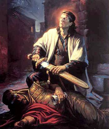 Нефий берёт меч Лавана