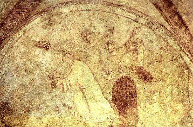Фреска, иллюстрирующая побивание Стефана камнями (фреска из крипты св. Германа Осерского)