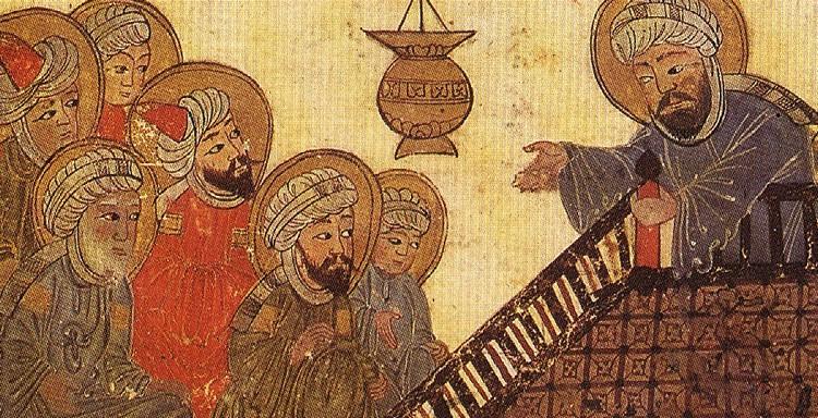 Средневековый рисунок с изображением Мухаммеда, произносящего проповедь